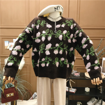 Spring and Autumn 2020 new jacquard knitwear loose casual long-sleeved sweater long winter sweater  korean  O-Neck  Pullovers 2019 spring new women half sleeve loose flavour black dress long summer vestido korean fashion outfit o neck big sale costume