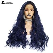 Anogol Peluca de cabello negro brasileño de fibra de alta temperatura, color azul degradado, oscuro, con ondas naturales largas, peluca con malla frontal sintética para mujer