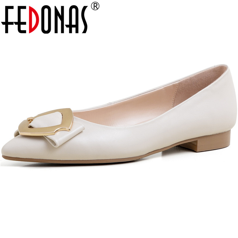 FEDONAS New Arrival Women Classic Design Pointed Toe Shoes Spring Summer Party Prom Pumps Genuine Leather Shoes Woman