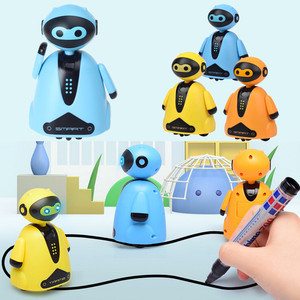 Follow Any Drawn Line Magic Pen Toy Inductive Robot Model Children Kids Toy Gift Truck Black Track Map Selfie Run Electric Toy(China)