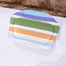 1pc PVC Sponge Bathtub Cushion with Colorful Strip Spa Bath Pillow for Head Shoulder Neck Support (Colorful)