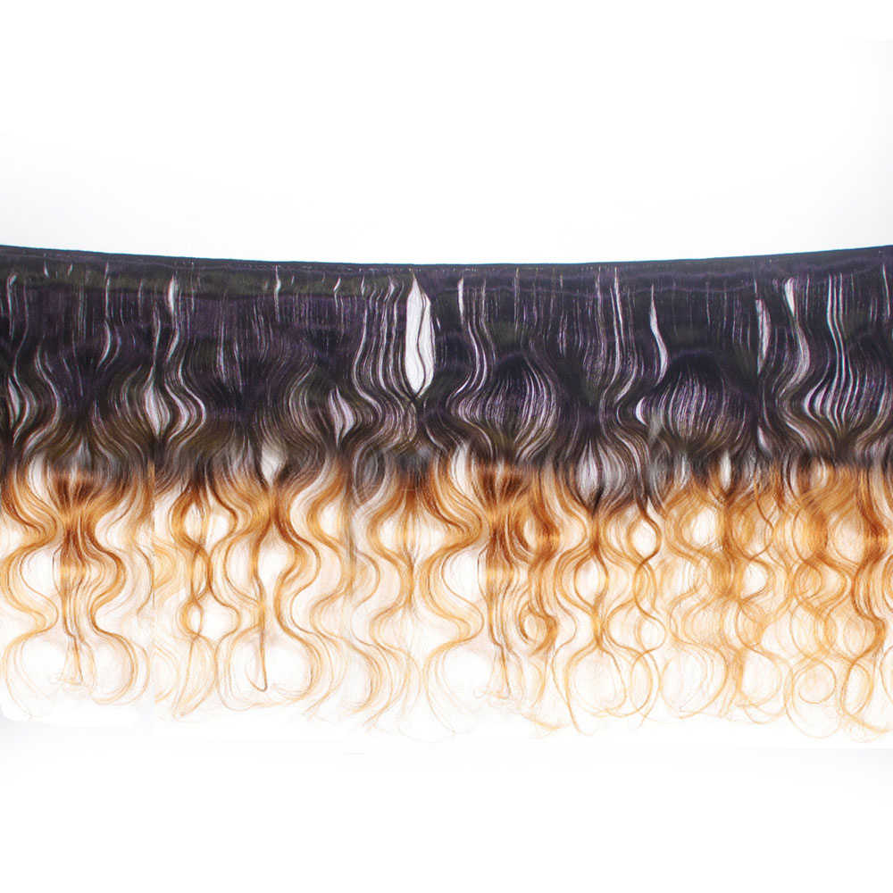 T1B/4/30 honey blonde ombre bundles with frontal Brazilian human hair weave body wave bundles with lace frontal closure non-remy