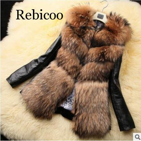 2020 Newest Women Winter Warm Fake Fur Patchwork Pu Leather Jackets Plus Size Casual Black Casual Faux Fur Coats Overcoats