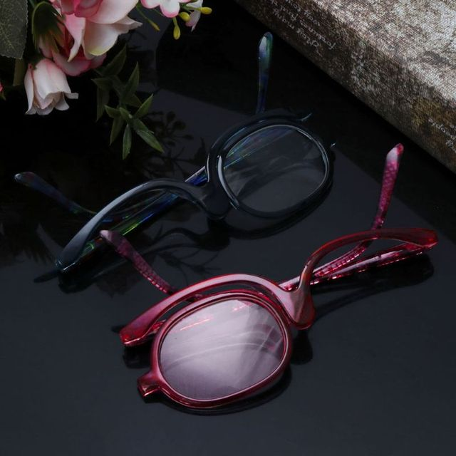 Women Makeup Reading Glasses Rotatable Flip Make Up Eye Glasses Presbyopic +1.00 To +4.0  4