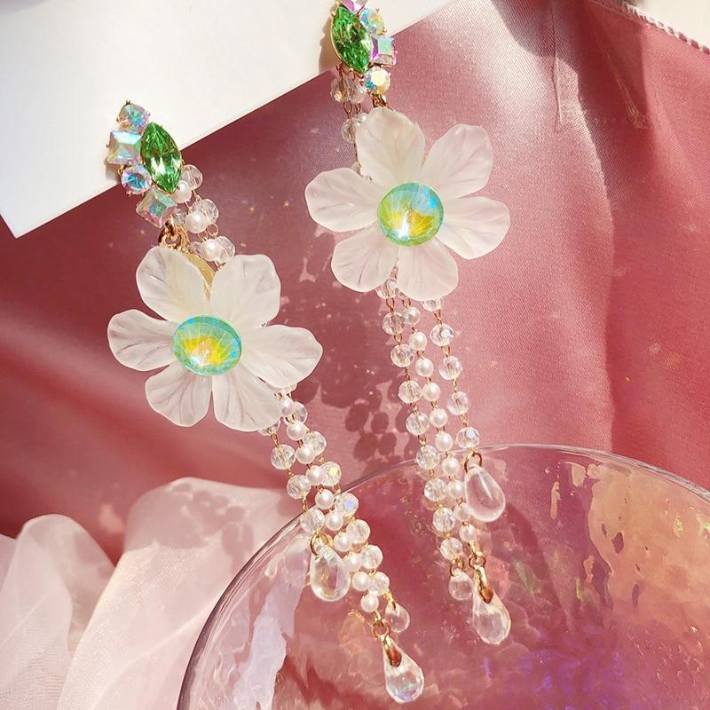 MENGJIQIAO Korean Fashion Green Crystal Flower Petal Drop Earrings Mujer Moda Elegant Pearl Tassel Pendientes Holiday Jewelry