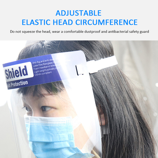 1PC Splash-proof Dust-proof Mask Head-mounted Transparent Mask Adjustable Reusable Elastic Face Mask Home Outdoor Fitness TSLM1 2