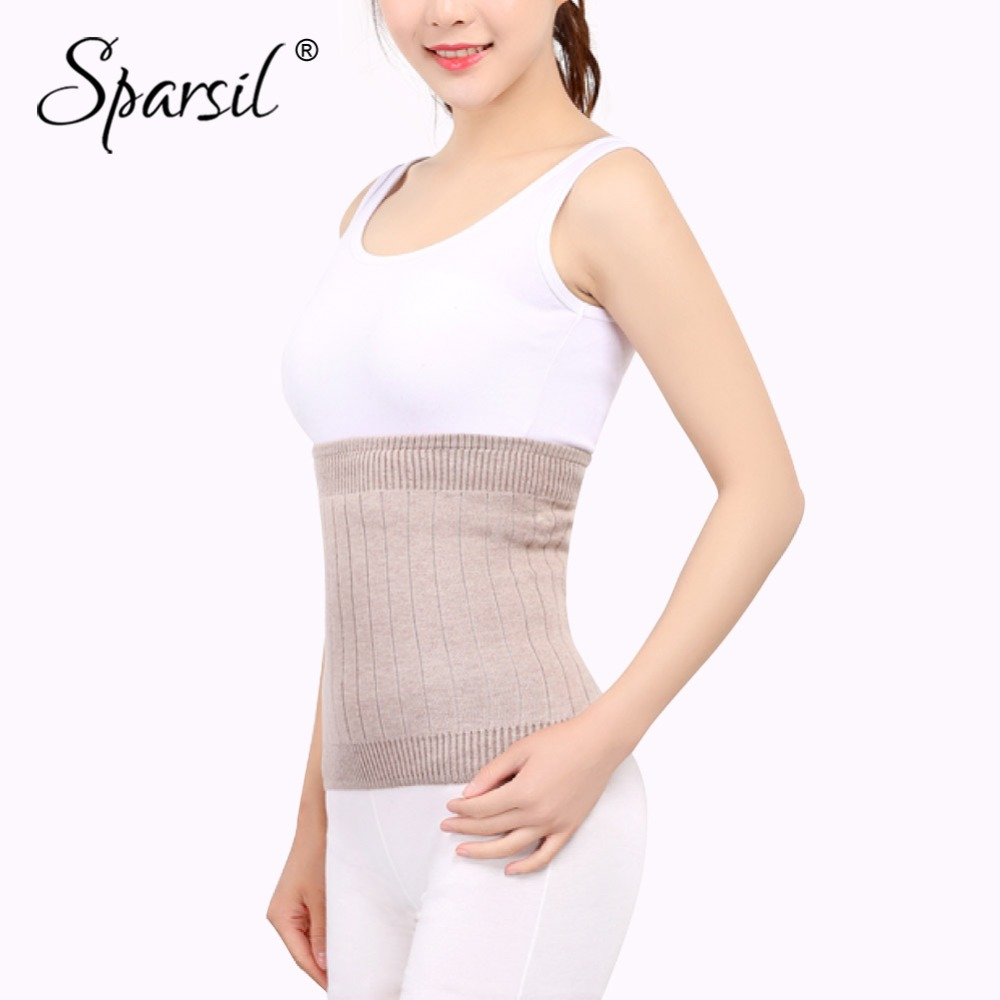 Sparsil Women Elastic Cashmere Knit Waist Back Support Slimming Shaper Cummerbunds Winter Thick Fleece Warm ColdProof Protector