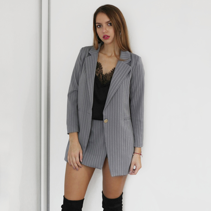 Fashion Women Skirt Suits One Button Notched Striped Blazer Jackets And Slim Mini Skirts Two Pieces OL Sets Female Outfits 2020