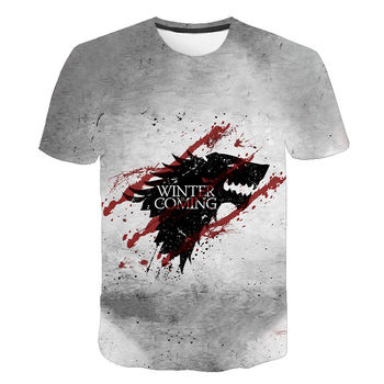 2020 nueva camiseta de verano para hombre/mujer, camiseta de Juego de tronos, camisetas de manga corta con estampado 3d para niños y niñas