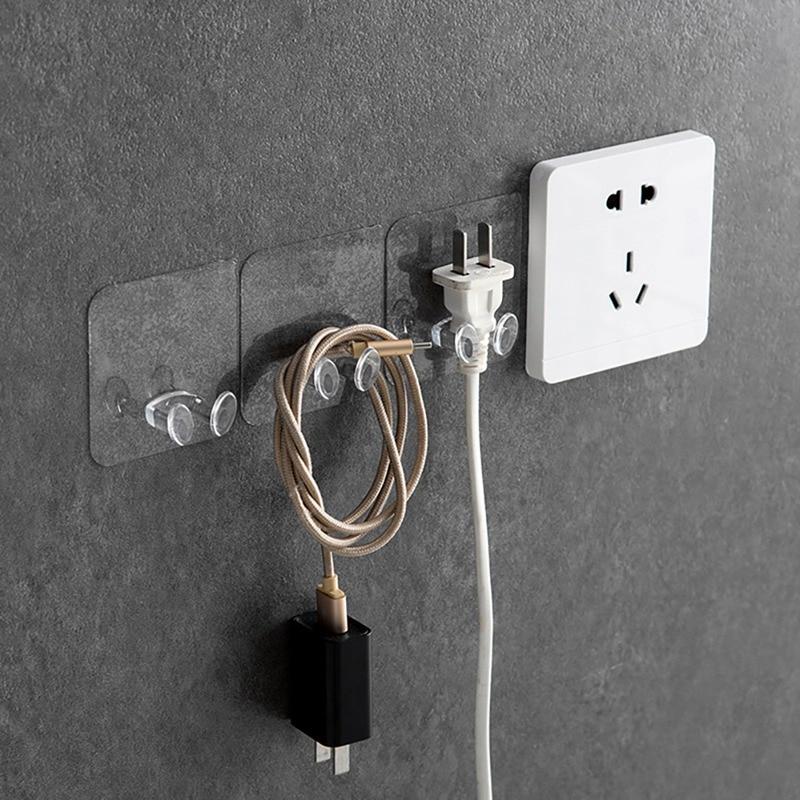 Transparent Plug Hook Socket Wire Nail Bracket Storage Hook Plastic Seamless Power Holder Kitchen Wall Strong Adhesive Hooks*a