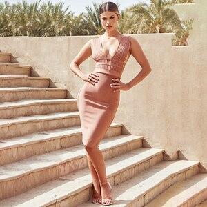 Image 3 - فستان صيفي مثير للنساء 2020 من BEAUKEY ذو قصّة ضيقة وياقة على شكل v فستان وردي بأشرطة للحفلات المسائية بطول الركبة