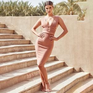 Image 3 - BEAUKEY Sommer 2020 Frauen Cut Out Sexy Verband Kleid Bodycon Tiefem v ausschnitt Rosa Kleid Bandage Abend Party Vestido Knie länge