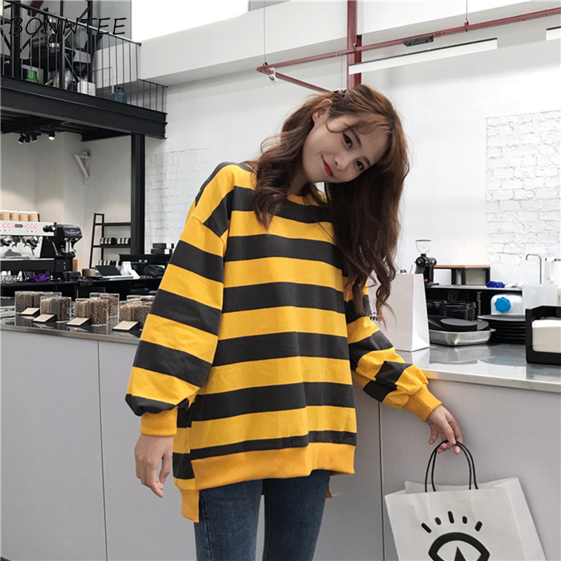 Hoodies Women Retro Striped Loose Casual Trendy Simple Soft Korean Womens Sweatshirt Student All-match Long Sleeve Harajuku Chic