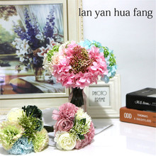 Hand Holding Flower Small Bunch Of Artificial Flowers Peony Hydrangea Home Decoration Wedding Fake