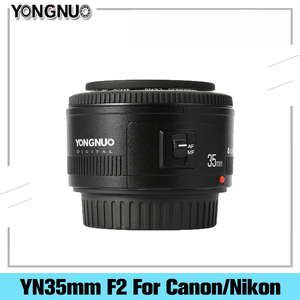 Объектив Yongnuo YN 35 мм F2, широкоугольный объектив с фиксированной автофокусировкой и большой диафрагмой для камер Canon, Nikon, Dsrl