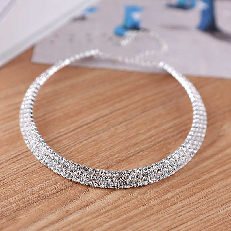 2017 Limited Sale Jewelry Sets Wedding Bridal Choker Necklace Earrings Diamante Rhinestone 3 Row Prom Set