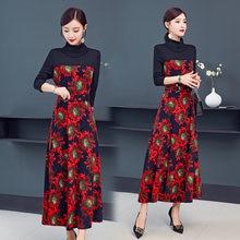 Большие размеры новинка осень зима 2019 женское вязаное платье