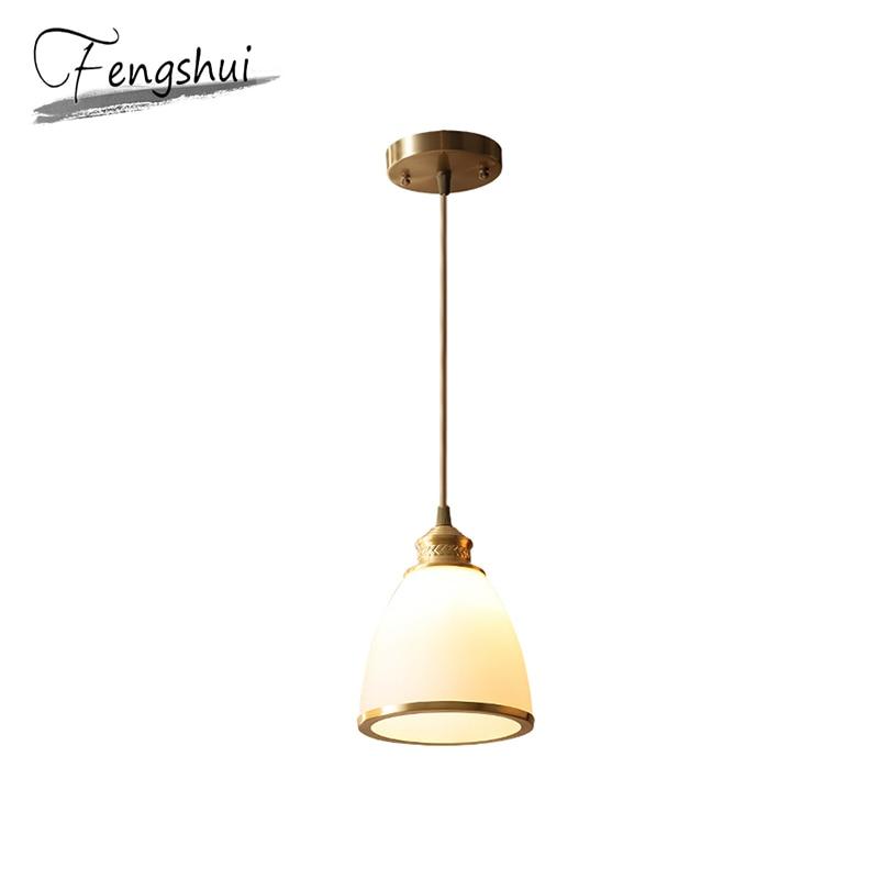 Nordic Copper Glass Pendant Lights Lamp LED Pendant Lighting Living Room Dining Room Kitchen Bedroom Loft Home Deco Hanging Lamp