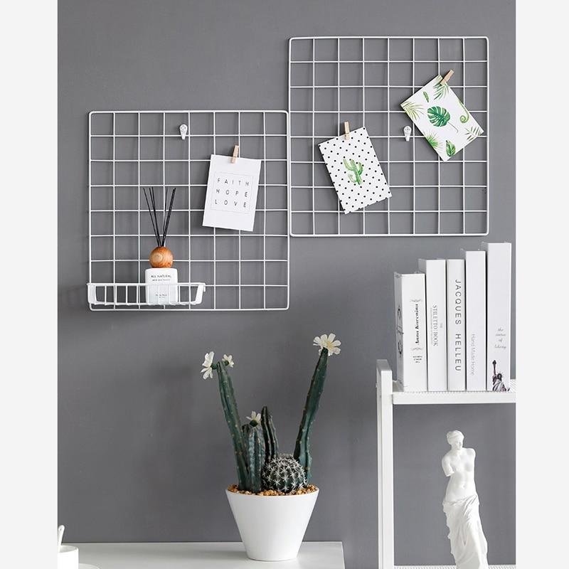 WHISM Multi-Function Iron Metal Grid Decor Photo Frame Wall Art Display Mesh Storage Shelf Organizer Rack Holder