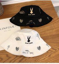 Siyah beyaz tavşan desen kova şapka Unisex Bob kapaklar Hip Hop Gorros erkekler kadınlar yaz Panama kap plaj güneş balıkçılık boonie şapka