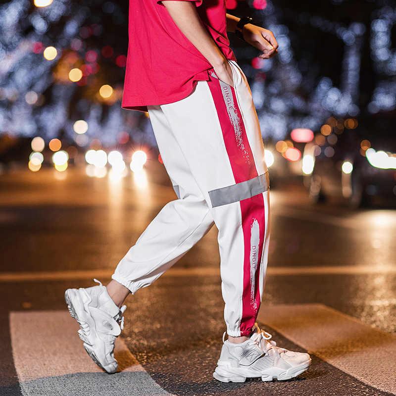 StreetWear primavera hombre Joggers pantalones Hip Hop moda 2019 otoño ropa de calle reflectante Harem Trouers