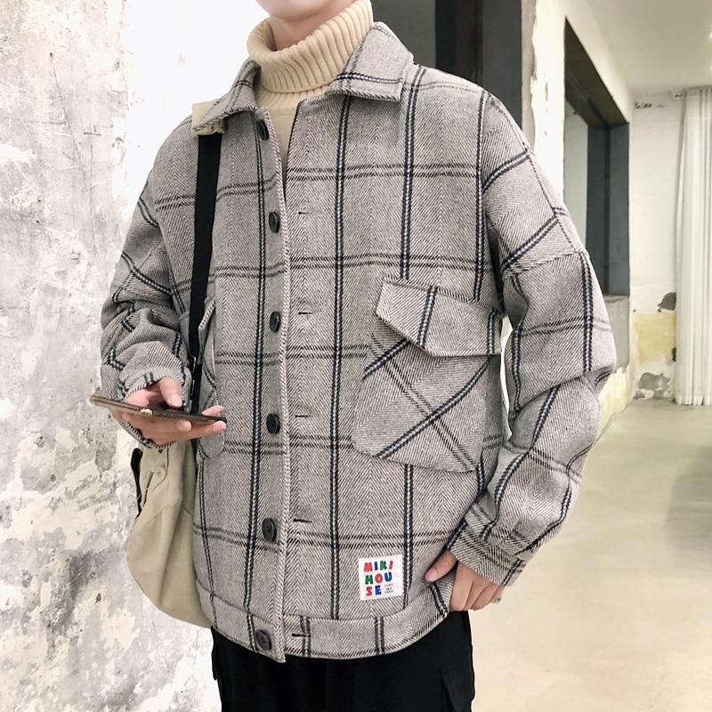 Мужская шерстяная куртка в клетку YASUGUOJ, Повседневная Свободная однобортная куртка в клетку, зима 2019|Пальто| | АлиЭкспресс