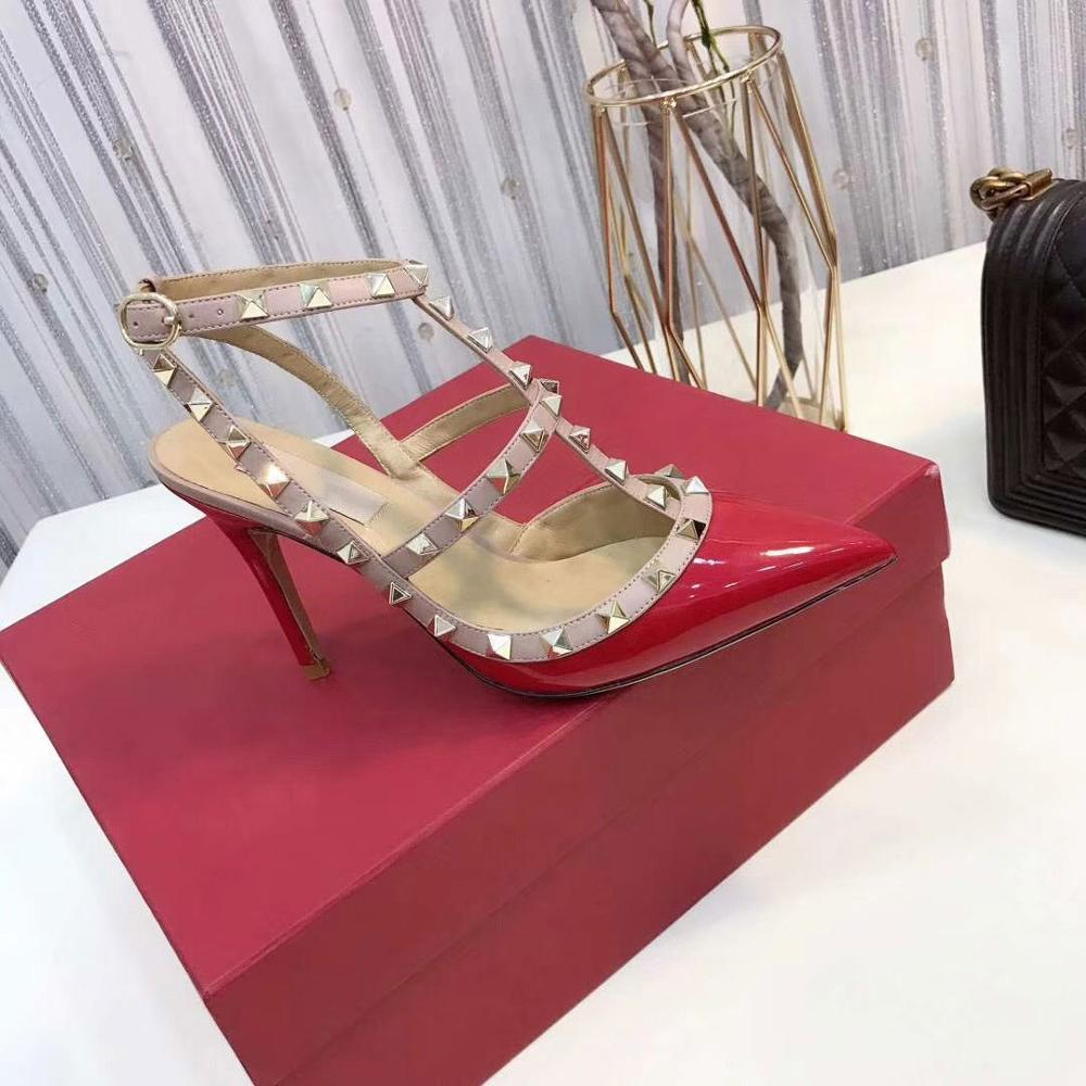 Shoe Studs Rivets Sandals Women Strappy Pointed-Toe High-Heel Designer Patent Leather