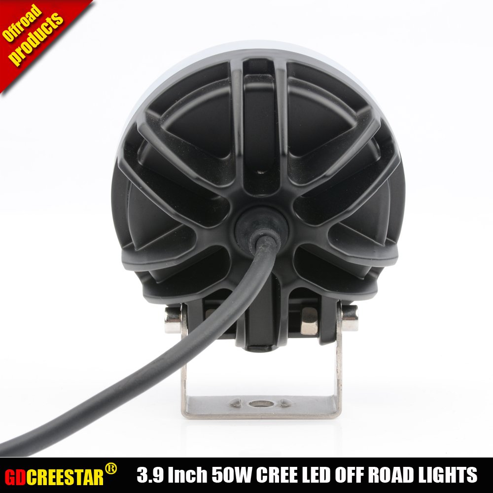 Car Led Tractor Work Lights 4 inch Round 50W Mini Led Off Road Lights 4x4 4WD Led Driving lights x2pcs/lots Free Shipping - 6