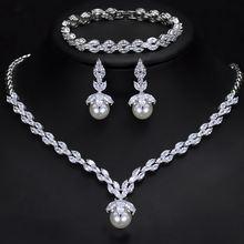 Модный роскошный ювелирный набор из aaa циркония жемчужные серьги