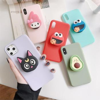 3D Cartoon Melody Soft phone case for iphone X XR XS 11 Pro Max 6 7 8 plus Holder cover for samsung S8 S9 S10 A50 Note 10 9 capa 2