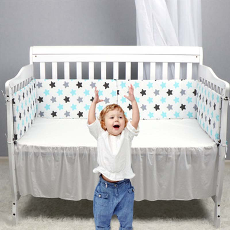 Newborn Cotton Breathable Crib Bumper Pad Baby Safety Bumper Guard Crib Rail Padding Bed SuppliesThickened Anti-fall Bed Ruffle