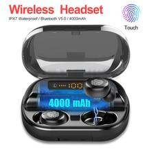 Спортивные стереонаушники 9D с внешним аккумулятором 4000 мАч, беспроводные наушники Bluetooth 5,0, IPX7, водонепроницаемые TWS Bluetooth наушники