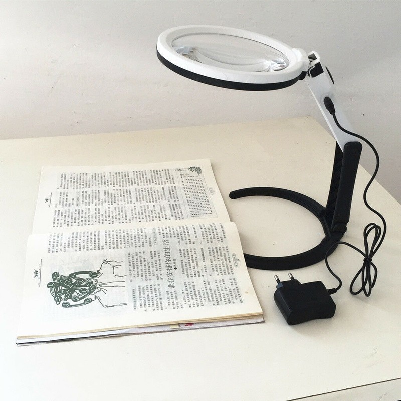 New Magnifying Desk Table Folding Handheld Lamp With 1.8X & 5X Magnifier 130mm With 12 LED Lighting And EU Power Charger