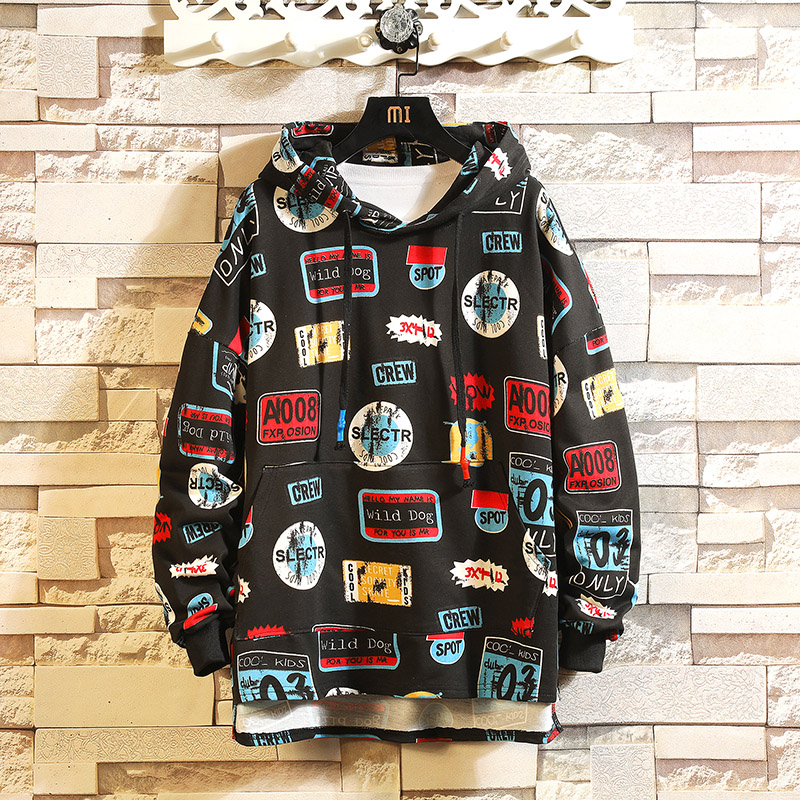 Dropping 2019 Autumn Winter Men Hoodies Funny Letter Printed Hooded Sweatshirts For Man Hip Hop Loose Tops Oversized