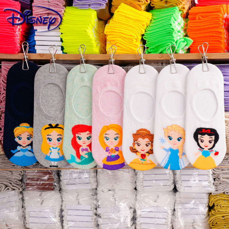 Disney Cartoon Strip Anti-shedding Women's Socks Snow White Shallow Mouth Invisible Thin Cotton Socks