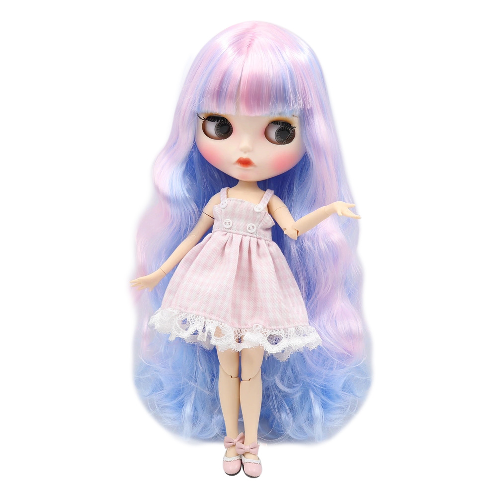 Glück Tage ICY Blyth Puppe joint body Cute blue rosa mixed farbe locken haar matte gesicht mit augenbrauen Lip gloss SD bjd Geschenk spielzeug-in Puppen aus Spielzeug und Hobbys bei  Gruppe 1