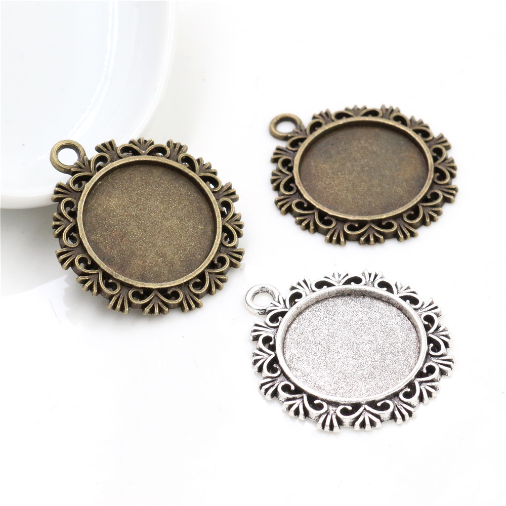 10pcs 20mm Inner Size Antique Silver Plated And Bronze Colors Plated Snowflake Style Cabochon Base Setting Charms Pendant