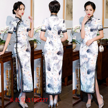 4XL Long Qipao Dresses Women's Evening Banquet Cheongsam Dress Beautiful Long Qipao Chinese Clothing