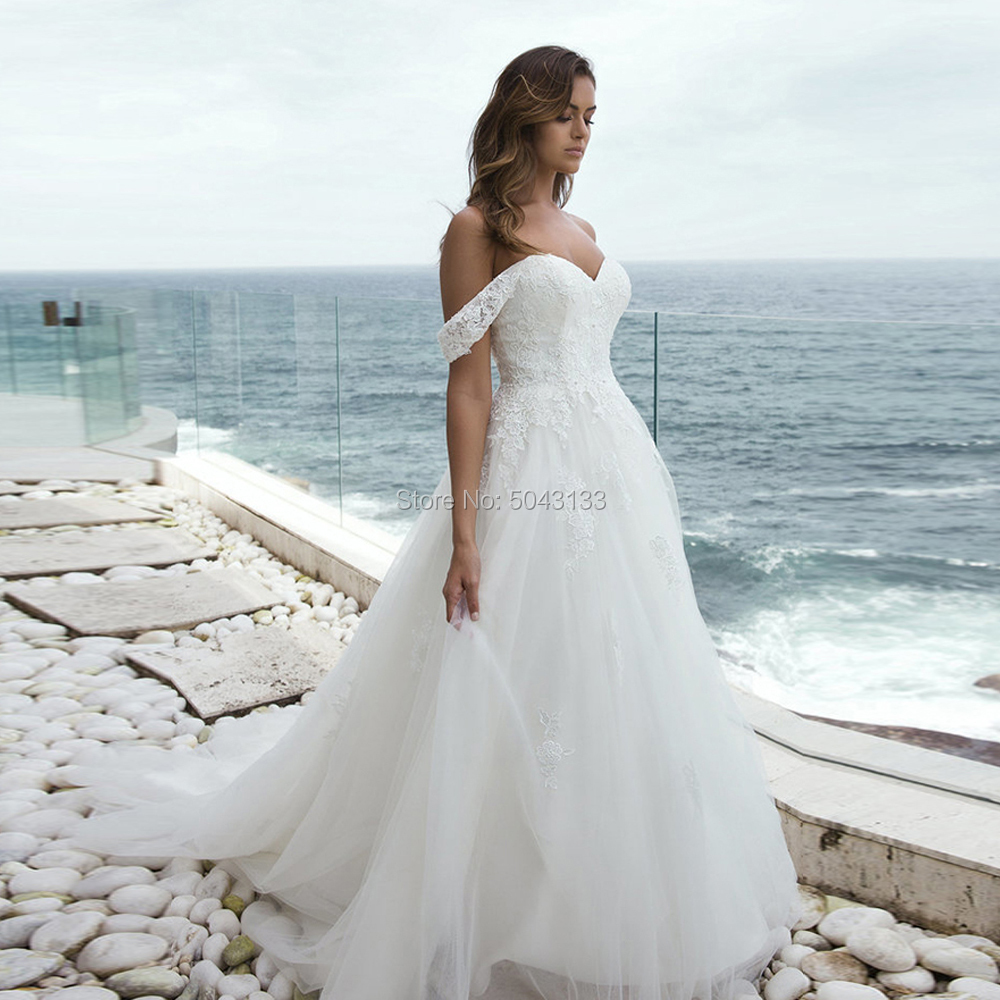 Boho Wedding Dresses With Detachable Straps 2019 Lace Appliques Sweetheart Off The Shoulder Tulle Wedding Gowns Lace Up Vestidos