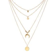 New Fashion Bohemian Multi-Layer Crescent Choker Necklace Retro Womens Personality Beaded Crystal Pendant Chocker