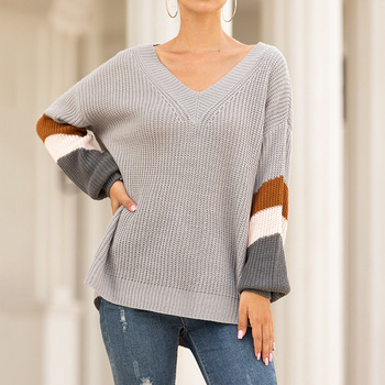 Lantern Sleeve Women's Sweaters Autumn Striped V Neck Jumper Winter Pullover Oversize One Shoulder Top Patchwork Female Sweater twist front v neck striped top