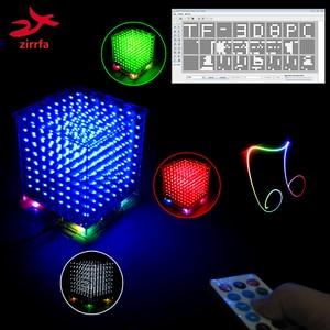 Image 1 - جديد ثلاثية الأبعاد 8S 8x8x8 mini mp3 موسيقى خفيفة cubeads عدة المدمج في الطيف الصوتي لبطاقة TF ، led الإلكترونية لتقوم بها بنفسك عدة