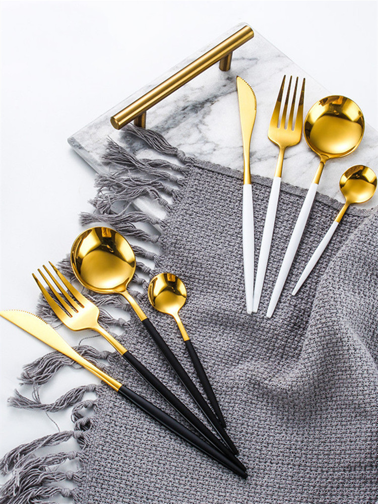 24pcs Gold Dinnerware Set Stainless Steel Tableware Set Knife Fork Spoon Luxury Cutlery Set Gift Box Flatware Dishwasher Safe