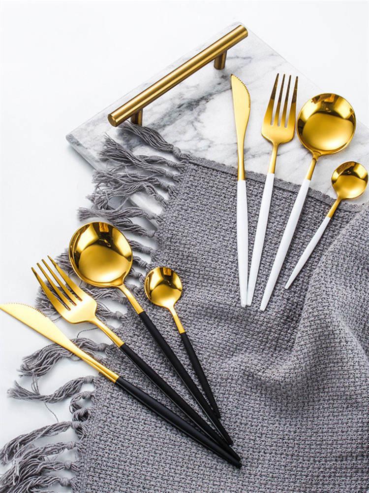 24 шт. золотой набор посуды Нержавеющаясталь набор посуды Ножи, столовая ложка, вилка, набор столовых приборов класса люкс Подарочная короб...