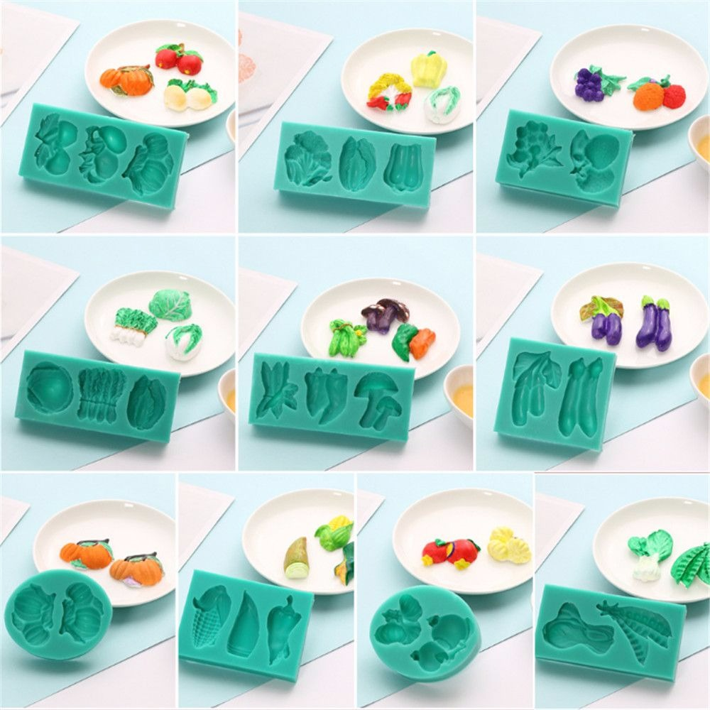 9 Styles Creative Vegetable Fruit Shaped Silicone Moulds DIY 3D <font><b>Fondant</b></font> Molds <font><b>Cake</b></font> <font><b>Decorating</b></font> <font><b>Tools</b></font> Kitchen Baking <font><b>Accessories</b></font> image