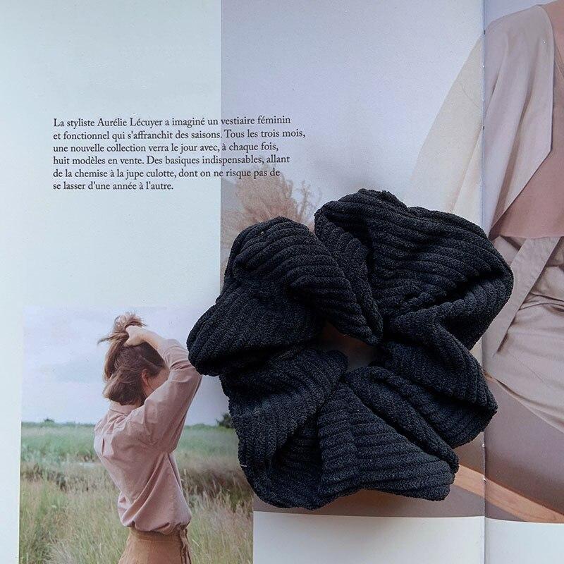 Womens Corduroy Stripe Hair Scrunchie Elastic Hair Ties Ponytail Hair Rope Gifts