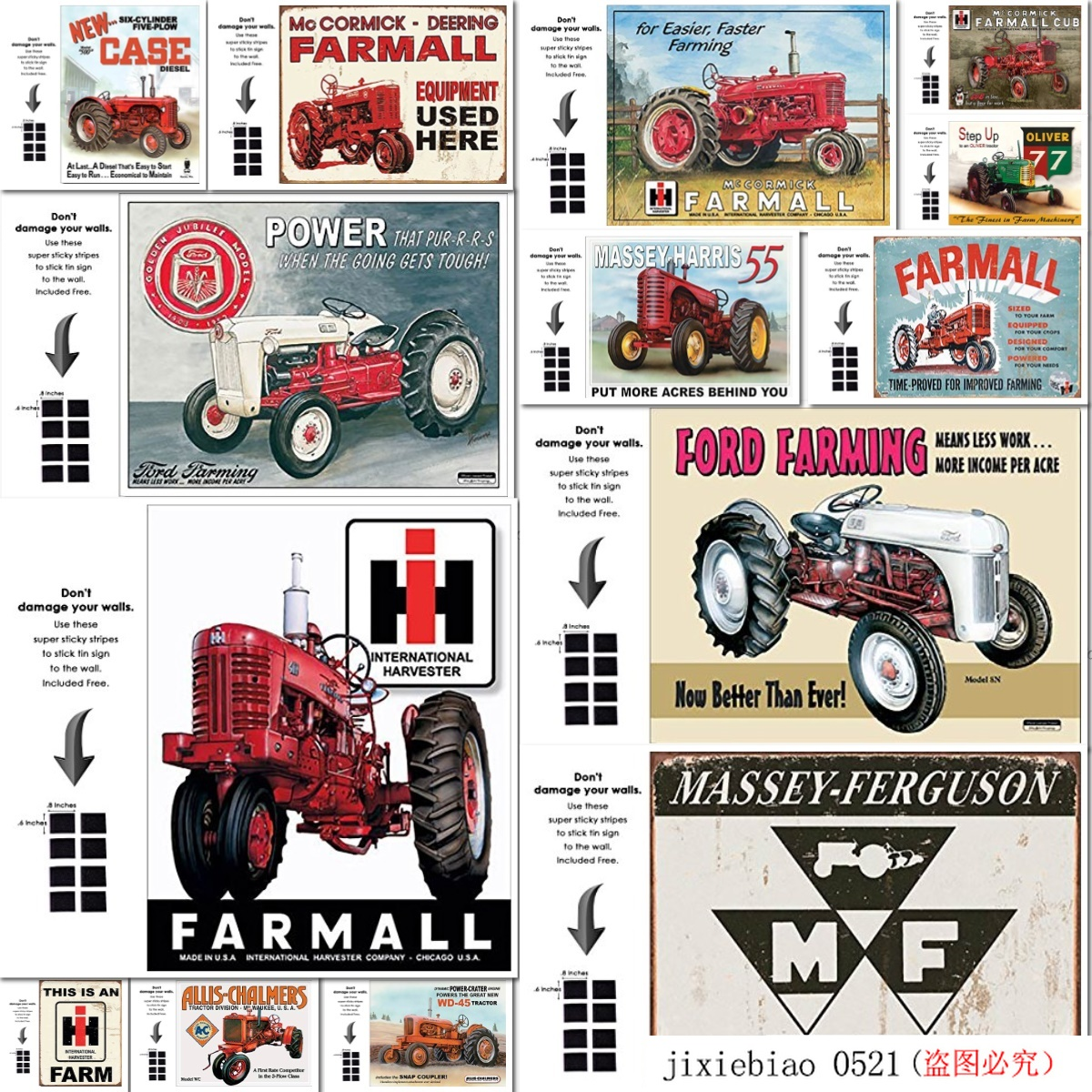 Massey Harris Sign Tractor Model 55 Farm Vintage Metal Advertising Tin New USA