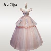 It's YiiYa Wedding Dress Beading Luxury Wedding Ball Gowns Off Shoulder Bridal Dresses Elegant Boat Neck Robe De Mariee CH126