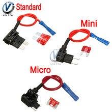 12 В автомобильный лопастной держатель предохранителя Add-a-circuit TAP Adapter Micro Mini standard ATM, APM Blade Автомобильные предохранители с 10A AMP предохранитель провода