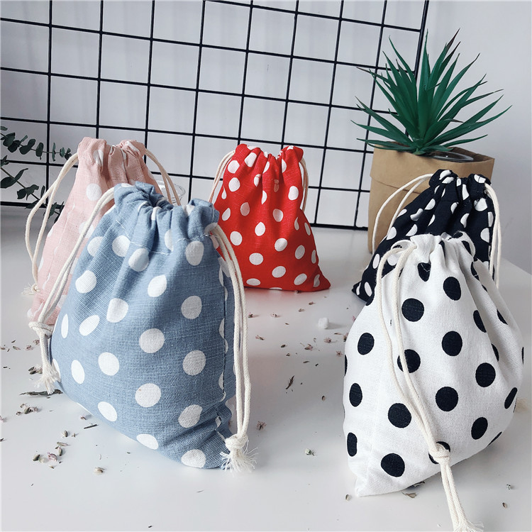 Cute Cotton Drawstring Bags Pouch Storage Bag Dot Printed Lipstick Storage Bag Food Packing Bags Chr